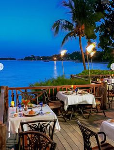 Dinner over looking the water - Sandals Negril Jamaica