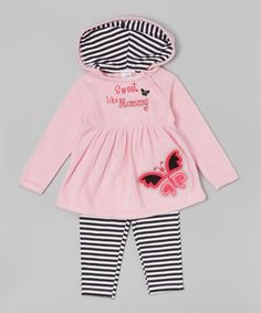 Loving this Pink & Black Hooded Tunic & Leggings - Infant & Toddler on #zulily! #zulilyfinds