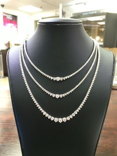 3 diamond necklaces. Can be worn together or stack them for extra bling!