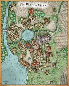 Urban village of Riverton Farmland bridge road deciduous forest pond stream med Fantasy Map Making, Fantasy City Map, Fantasy Village, Fantasy Town, Fantasy World Map, Medieval Fantasy, Plan Ville, Dnd World Map, Castlevania