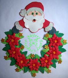 velas navideñas en foami - Nocturnar Felt Christmas Decorations, Christmas Colors, Christmas Crafts, Christmas Ornaments, Santa Crafts, Felt Crafts, Diy And Crafts, Wreath Crafts, Christmas Pictures