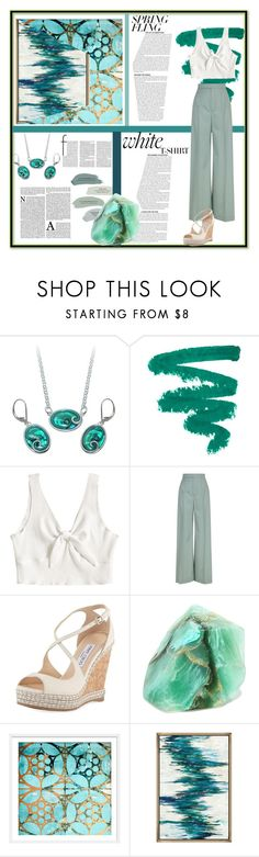 """""""Green spring"""" by rebecca-morrissey ❤ liked on Polyvore featuring Chloé, Jimmy Choo, SoapRocks, GREEN, jewellery and fashionset"""