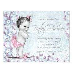 """Adorable Vintage Pink and Purple Baby Shower 4.25"""" X 5.5"""" Invitation Card"""