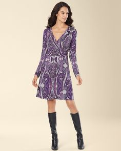 79bb5c387d Soma Intimates Long Sleeve Surplice Wrap Short Dress Collage Paisley  Allover  somaintimates Wrap Dress Short