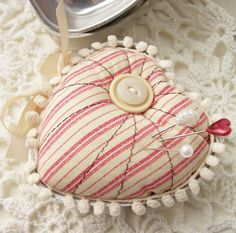 Inspiration...heart tin with pincushion top....from Creative Paper Trail: stitch and sew...