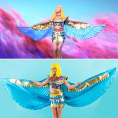 "DIY All of Katy Perry's ""Dark Horse"" Video Costumes for Halloween via Brit + Co. Katy Perry Halloween Costume, Halloween Diy, Halloween Costumes, Dark Horse Video, Chevron Stencil, Cat Eye Tutorial, Gold Mini Skirt, Cleopatra Costume, Ideas"