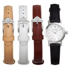 Bulova Women's Watch & Interchangeable Leather Band Set - 96X127 (Tan/Black/Red)