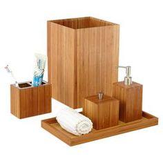 5-Piece Bamboo Bath Accessory Set