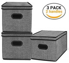 Homyfort Foldable Storage Bins Cube Boxes with Lid Linen Polyester Basket Closet Organizer for Home BedroomClothes with Double Plastic HandlesSet of 3 Black with Pattern Storage Bins With Lids, Collapsible Storage Bins, Fabric Storage Bins, Lid Storage, Cube Storage, Storage Boxes, Storage Baskets, Storage Spaces, Container Organization