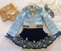 Classy Blue Jean Olsson Irish Dance Dress Solo Costume For Sale