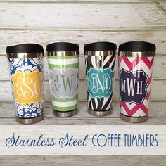 Reusable stainless steel coffee mug with cute designs. What a fun gift idea!