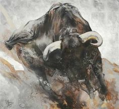"Saatchi Art Artist Arno Bruse; Painting, ""Toro Embistiendo"" #http://www.saatchiart.com/smart.artt"