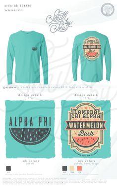 Alpha Phi | Lambda Chi Alpha | A Phi | Watermelon Bash | Vintage T-Shirt Design | South by Sea | Greek Tee Shirts | Greek Tank Tops | Custom Apparel Design | Custom Greek Apparel | Sorority Tee Shirts | Sorority Tanks | Sorority Shirt Designs