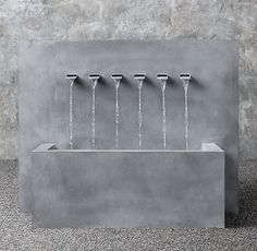 "Weathered Zinc Wall Fountain 6-Spout Trough 50"" W x 20"" D x 39"" H $2615 on Sale $2090"
