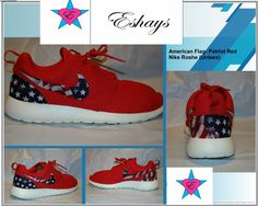 dc075762ece Custom Nike Roshe Run- Red Nike Roshe Runs - American Flag Print - Women