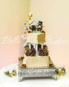 Stunning yellow wedding cake on silver plinth with wintery fir cones