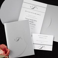 Silver Wrap Wedding Invitations for a formal wedding any season-spring, summer, fall or winter!