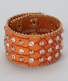 Take a look at the Orange & Gold Croc Rhinestone Bracelet on #zulily today!