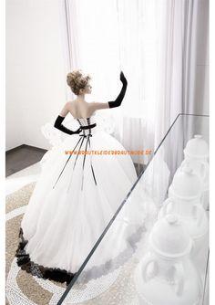 2013 Elegante schwarz-weiß Brautkleider aus Tüll und Satin Ballkleid mit Schleppe