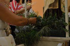 La imatge es retorna a l'església on es canta la salve marinera. Quan tot s'ha acabat tothom qui vulga pot endur-se flors de la verge.