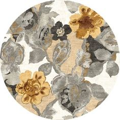 Hand-tufted Transitional Floral Pattern Gray/ Black Rug (8' Round) - Free Shipping Today - Overstock.com - 15511061 - Mobile