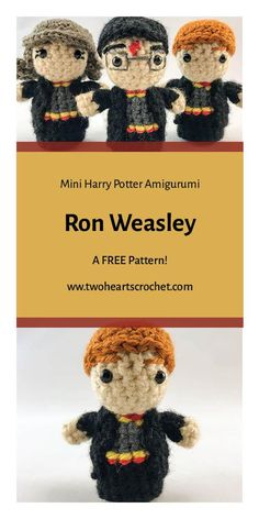 Crochet Ron Weasley Doll Pattern  |  Harry Potter Ron Pattern  |  HP Amigurumi  |  Crochet Harry Potter Patterns  |  Mini Amigurumi  |  Crochet Dolls  |  Ron Weasley Crochet