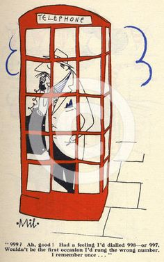 Cartoon of a man in a red telephone box, 1950s.