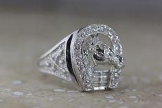 14K W GOLD MENS HORSESHOE RING & DIAMONDS SOLIDE VS1 G