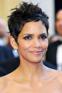 Love Halle Berry's pixie short crop hair cut...she doesn't need long hair to hide behind with that gorgeous face!
