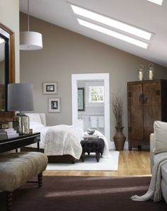 bedroom with skylights and nude shaded accents