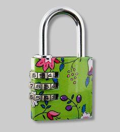 NEW collection.. PYLONES - Padlock cadenas flower lock green