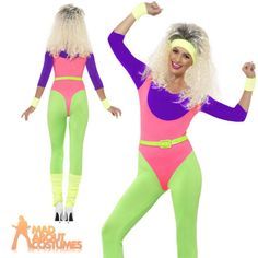 80s workout costume fitness #instructor #ladies neon dance leotard #fancy dress, View more on the LINK: http://www.zeppy.io/product/gb/2/151643406251/