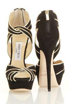 Jimmy Choo Koko Sandal In Black And Gold #JimmyChoo #shoes