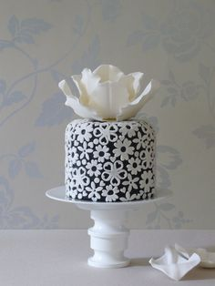 Black and White Cake sugar flower top by ~Made With Love~
