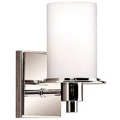 """Polished Nickel and Etched Glass 8 1/2"""" High Wall Sconce"""