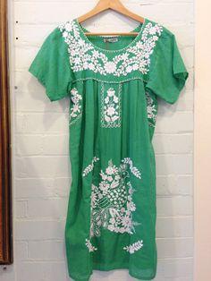 Mexican Style Dress - Green (longer length)