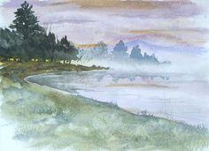 Watercolor Landscape - Foggy Lake, via Flickr.