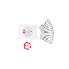 Branded Golf Tees and Marker Pillow Pack. Perfect golf day accessory.  Includes 15x 70mm tees and poker chip marker. Branding to case, tees and marker.  http://www.sportythoughts.com/products/branded-golf-accessories/branded-golf-tees-and-marker-pillow-pack/