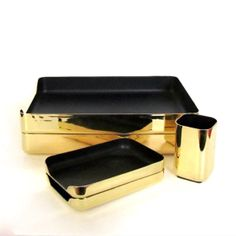 Brass / Black Desk Set - Knoll Office Paper Trays, Letter Holders, Pen Cup Hollywood Regency - Mid Century