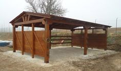 Wooden Pole Shed. Any type of roof can be used for a pole shed. the quickest and cheapest option is to use is the pent roof design. Paddock Trail, Horse Paddock, Horse Shed, Horse Barn Plans, Horse Stalls, Small Horse Barns, Pole Barn Designs, Loafing Shed, Horse Shelter