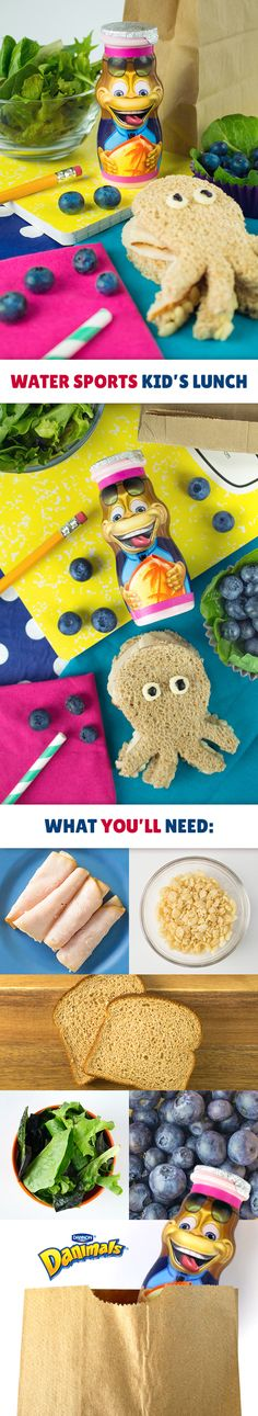 Kids won't be able to resist this adorable underwater themed kid's lunch. Cut a turkey on whole wheat bread sandwich into an octopus shape using a cookie cutter or knife. Then, place rice cereal in the sandwich, along the octopus' arms. Pair this adorable sea creature with a mixed green salad, fresh blueberries and a Water Sports Danimals® Smoothie.