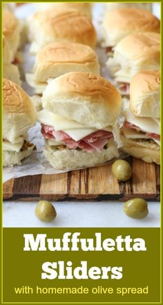 Muffuletta Sliders with homemade olive salad spread - muffuletta slider Source by aforkstale Soup Appetizers, Appetizer Recipes, Recipes Dinner, Breakfast Recipes, Dessert Recipes, Tapas, Quiche, Slider Recipes, Soup And Sandwich