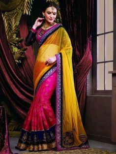 Pink And Yellow Net Saree With Handwork