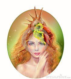 Horoscope Zodiac - Fantasy Cancer Zodiac Sign ♋   portrait beautiful girl