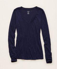 Aerie Long Sleeve Best T, Women's, Navy Blue
