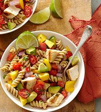BHG's Newest Recipes: Cilantro-Lime Pasta Salad Recipe - Mango, Avocado, Grape Tomatoes, Grilled Chicken, Whole Wheat Rotini, with a delicious lime dressing--perfect spring recipe!