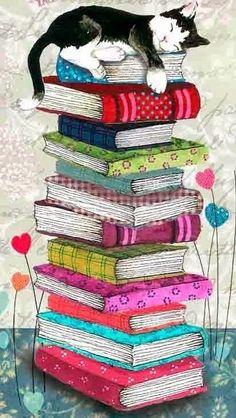 Painting cat sleeping on a pile of books. Painting cat sleeping on a pile of books. Cat Wallpaper, Animal Wallpaper, I Love Cats, Crazy Cats, Tattoo Chat, Graffiti Kunst, Art Carte, Illustration Art, Illustrations