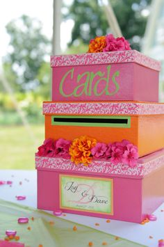 Custom Wedding Card Box 3 Tier Square by aSignofJoy on Etsy, $79.95