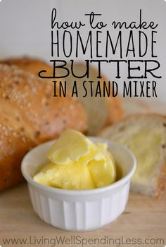 How to make homemade butter in a stand mixer. I seriously cannot believe how easy this is! It costs less, tastes better, is fun to do with kids and it makes buttermilk too!