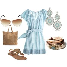 Cute baby blue dress for summer. Earrings are sweet too! WANT!!!!!!!!!
